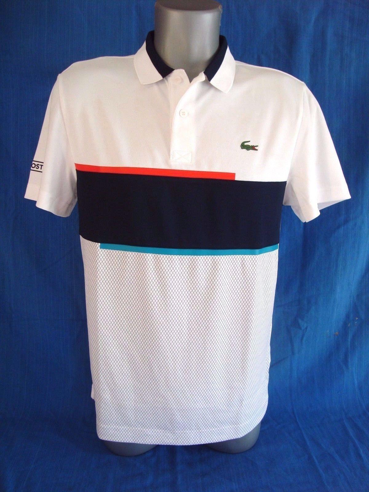 Lacoste Sport White Navy Blue Ultra Dry Mens Pique Knit Tennis Polo Shirt New Polo Shirt Lacoste Sport Tennis Polo