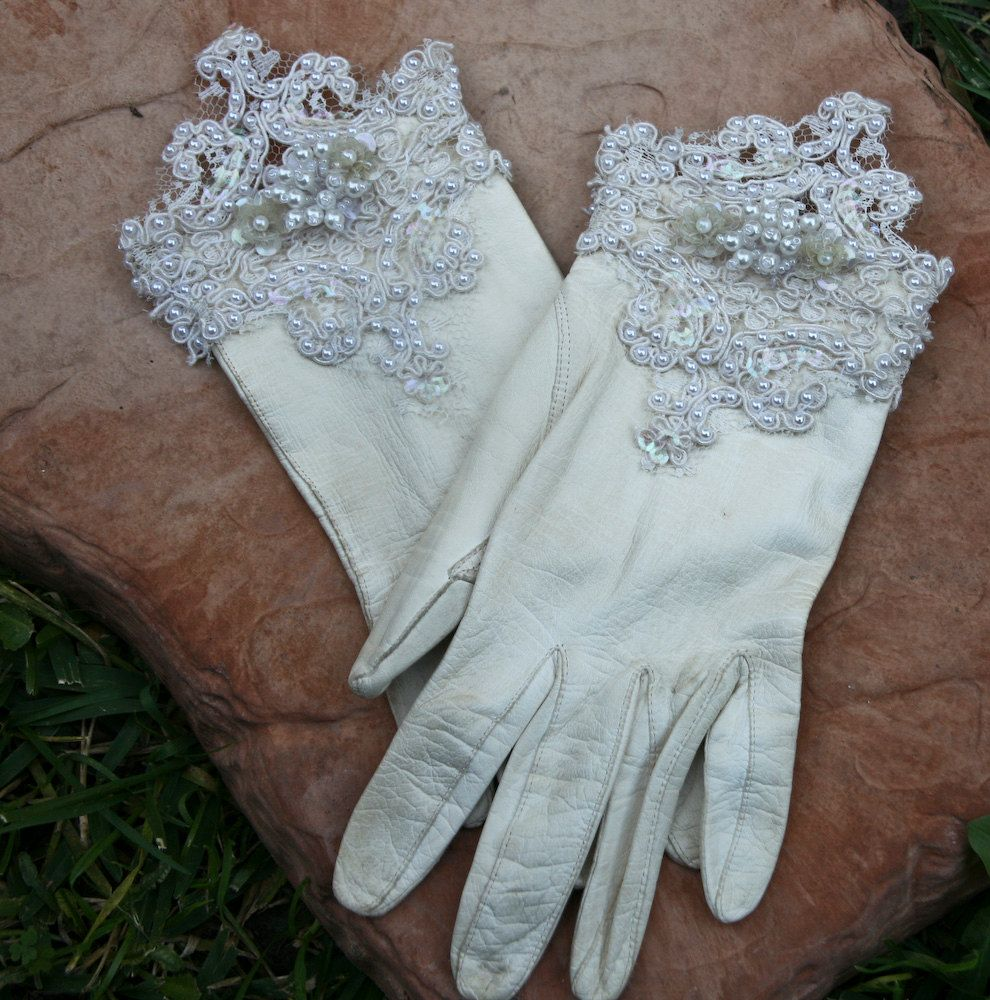 Ladies long vintage leather gloves - Vintage Kid Leather Gloves Up Cycled With Lace And Beads
