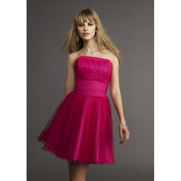 Pleated Tulle Strapless A line Cocktail Dress with Natural Waistline and Pleated Tulle Skirt CK-0002