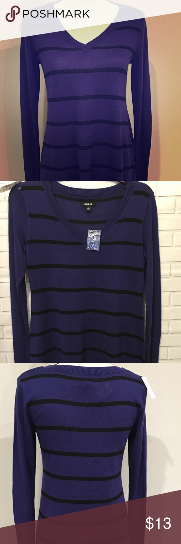 APT 9 Knit Top lightweight tunic sweater striped NWT | Tunic ...