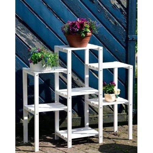 Wooden Plant Stand White Shelves Outdoor Flower Pot Garden Patio Home Decor  Wood