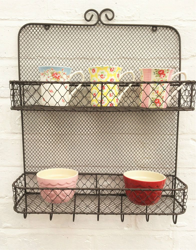 Vintage Rustic Wire Wall Unit Shelf Storage Basket Kitchen Bathroom ...