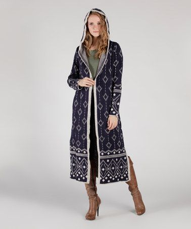 Another great find on #zulily! Navy Blue & Gray Geo Stripe Hooded Open Duster #zulilyfinds