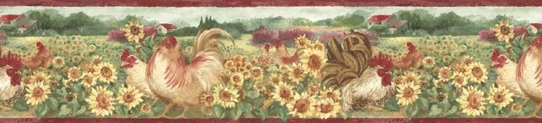 Awesome COUNTRY,CHICKEN,HEN,SUNFLOWERS Wallpaper Border BG76315