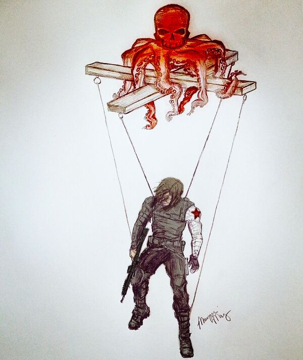 """COLORIZED VERSION - """"Puppet"""" Bucky Barnes/Winter Soldier Hydra Sketch Drawing - by Morgan May"""