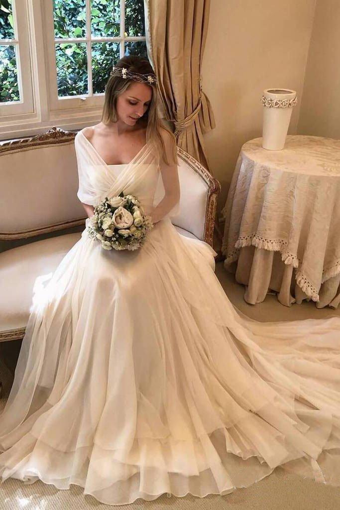 Simple Elegant Chiffon Beach Wedding Dresses with Wrap