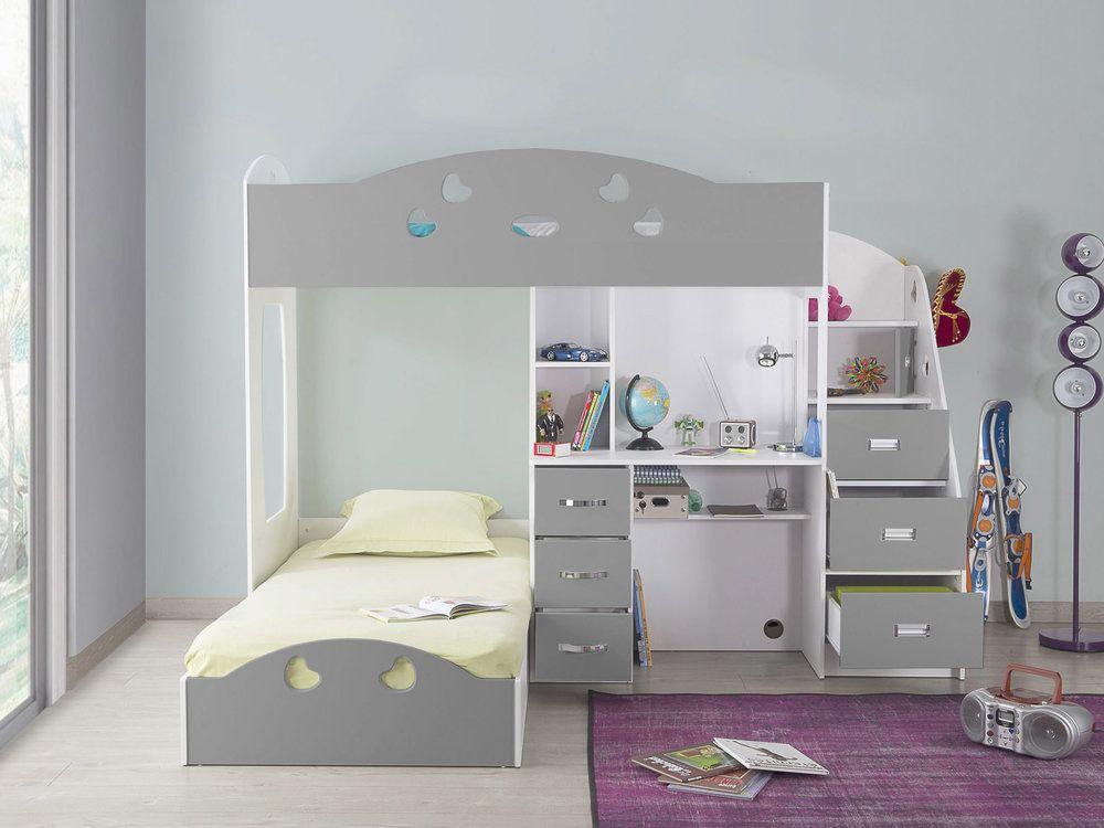 lit superpos combal avec rangements et bureau chambre. Black Bedroom Furniture Sets. Home Design Ideas