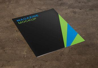 Magazine on Stone Background Mockup