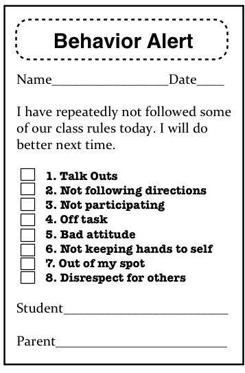 Behavior sheet School Stuff Pinterest Behavior management