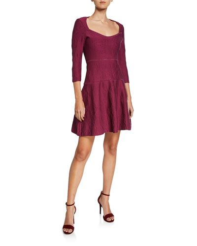 $999 Sangria fit-and-flare dress for fall 2019. Have a look at this beautiful dress crafted by zac posen. Cotton is the fabric used to make this dress. This v neck dress also displays a three quartered sleeve style. Undoubtedly the textured pattern enhances the outlook of the dress. This dress is perfect for both formal & evening events and cocktail & party. The fit-and-flare style makes the outfit unique.