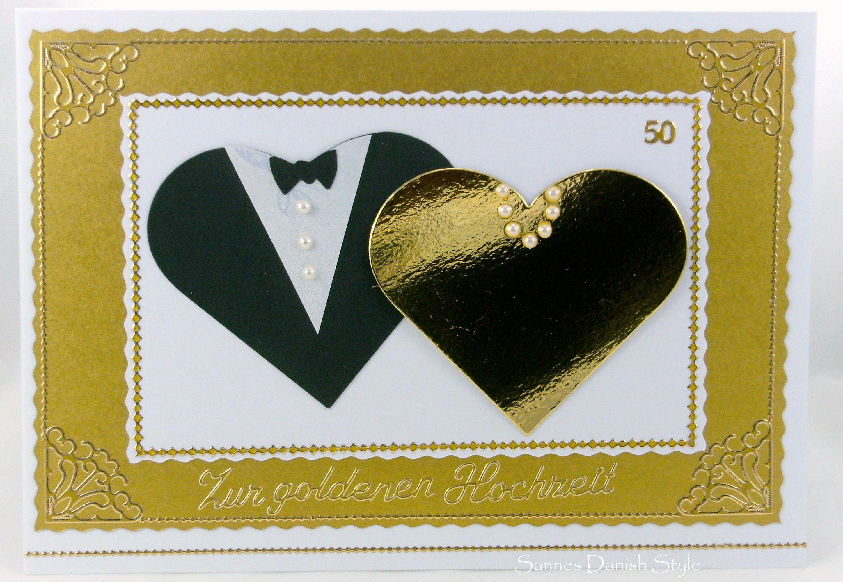Eine goldene Hochzeitskarte