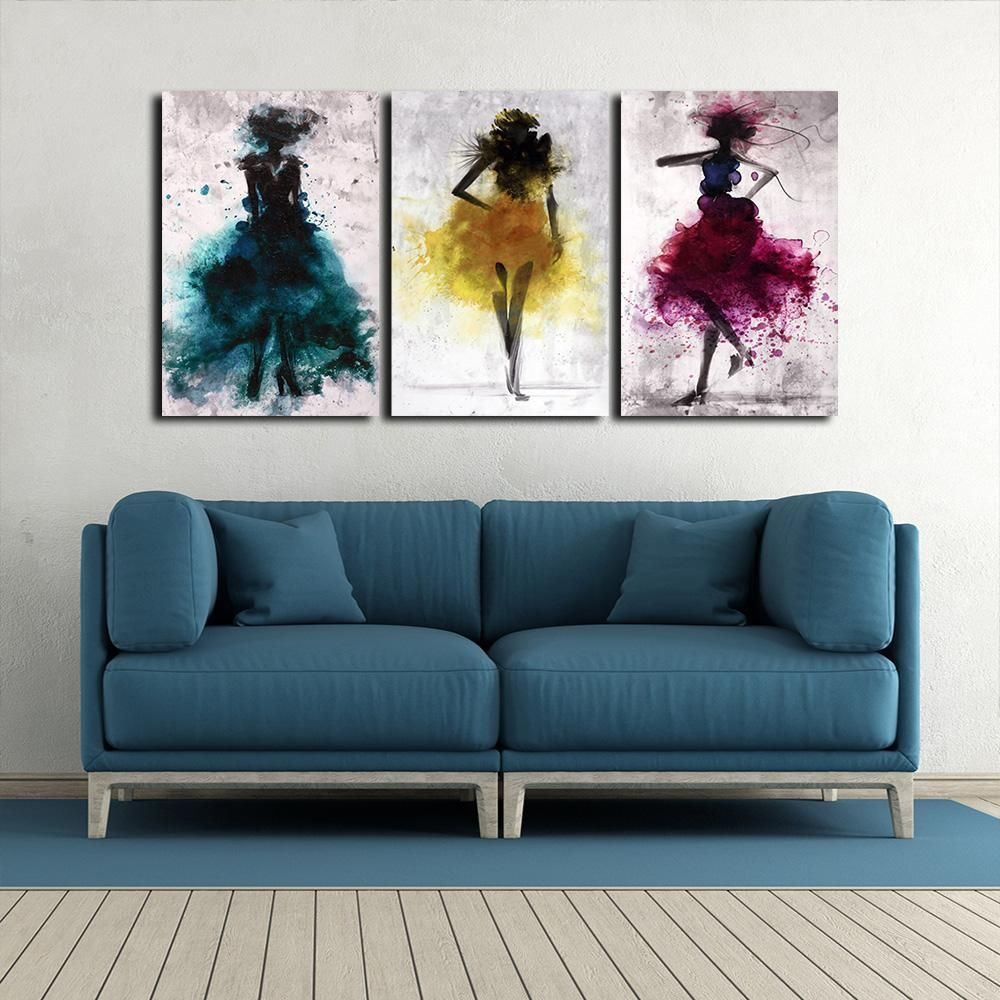 Abstract Dancers 3 Pieces Canvas Art 3 Piece Canvas Art Living Room Canvas Art Diy Canvas Art