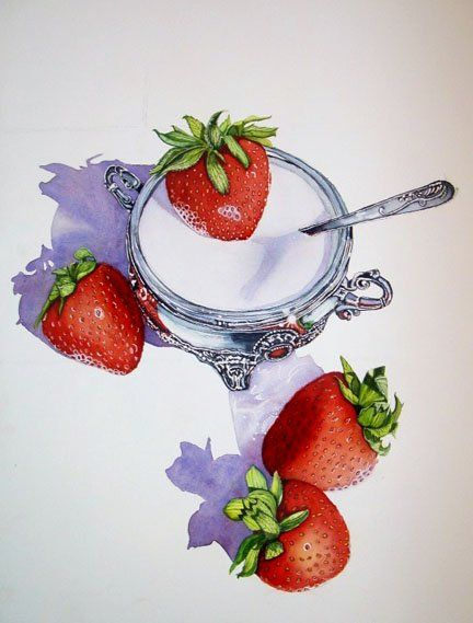 strawberries sugar silver