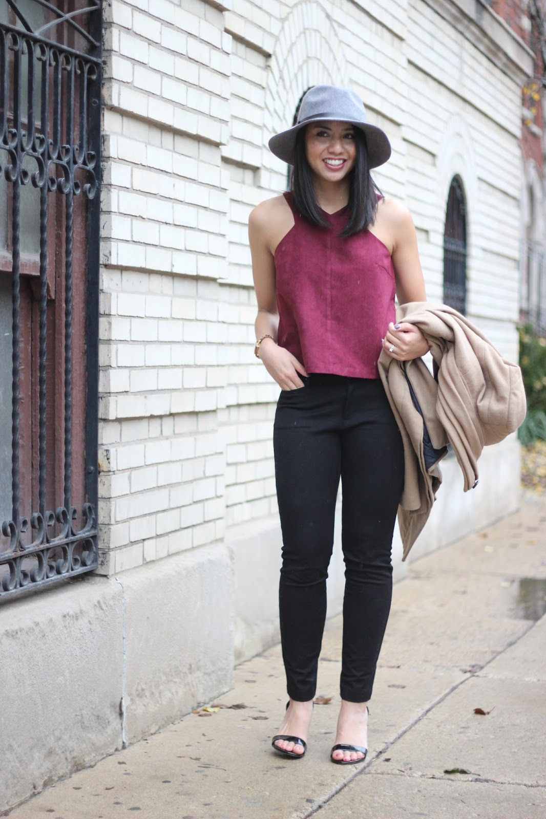 3a25c2832e00 Burgundy, Fall Style, Winter Style, Nye outfit, Holiday outfit, fedora hat,  camel coat
