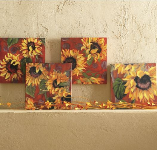 Set Of 4 Sunflower Canvases From Through The Country Door In The