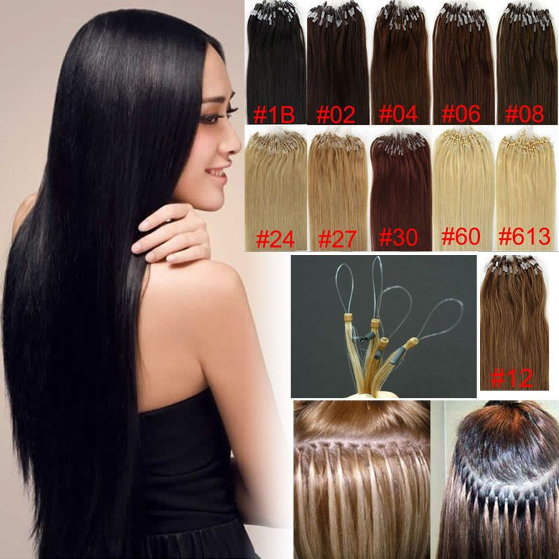 Us Micro Bead Ring Sexy Loop 100 Human Hair Extensions Soft Remy