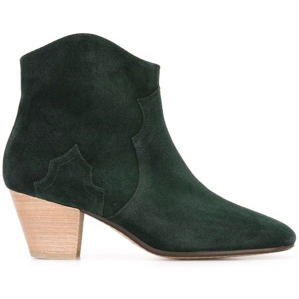 Isabel Marant Étoile 'Dicker' ankle boots: (600 CAD) ❤ liked on Polyvore featuring shoes, boots, ankle booties, green, short boots, leather ankle boots, genuine leather boots, isabel marant booties and leather ankle booties