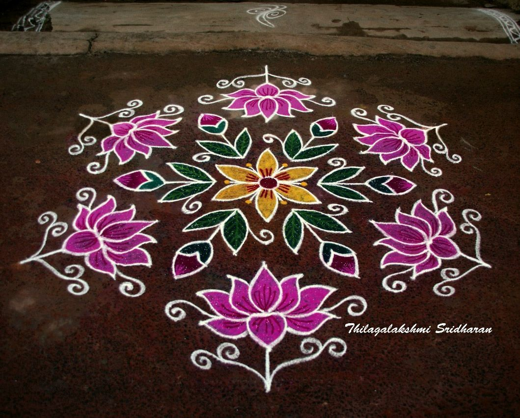 This Is A Dotted Lotus Kolam With 15 8 Interlaced Dots Rangoli Border Designs Rangoli Designs With Dots Rangoli Designs