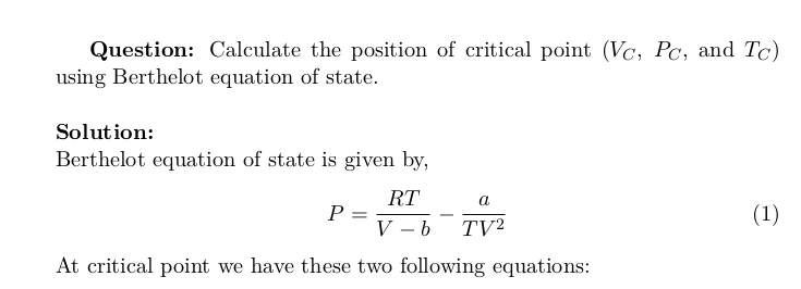 Critical Points Of Berthelot Equation Of State Thermodynamics