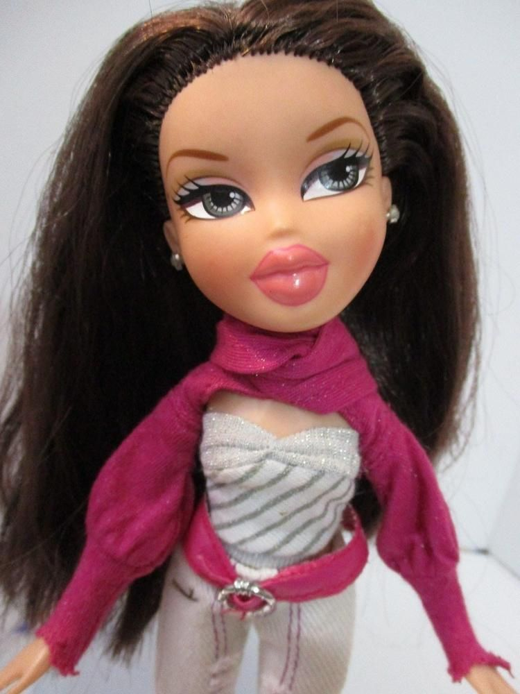 Bratz Doll Long Dark Brown Hair White Jeans Pink White Top Pink High Heels Bratz Brown Hair Blue Eyes Brown Hair Green Eyes Brown Hair And Hazel Eyes