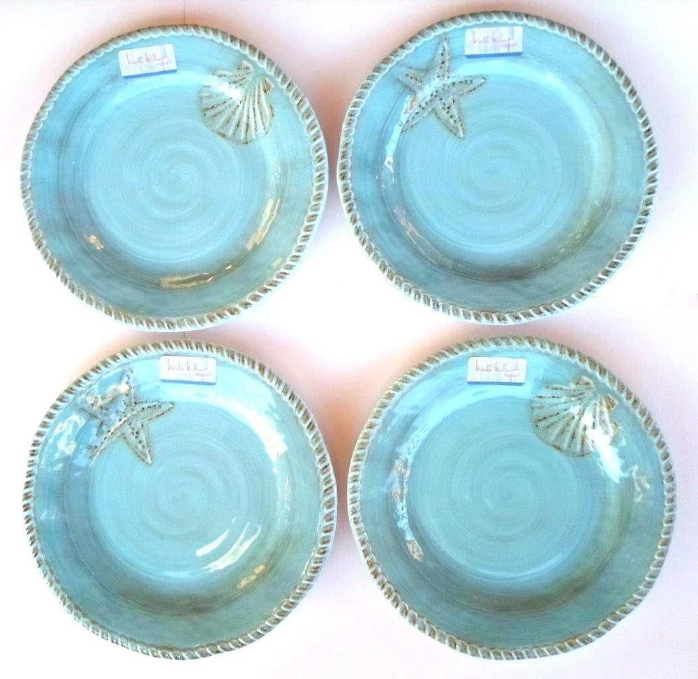 Nicole Miller Tropical Rustic Starfish Melamine Set of 4 Coastal Dinner Plates #NicoleMiller  sc 1 st  Pinterest & Nicole Miller Tropical Rustic Shell Starfish Melamine 4 Set Coastal ...