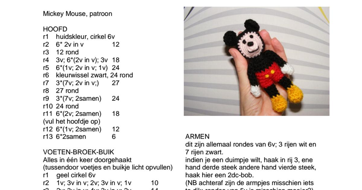 Mickey Mouse .pdf   Crochet   Pinterest   Ganchillo