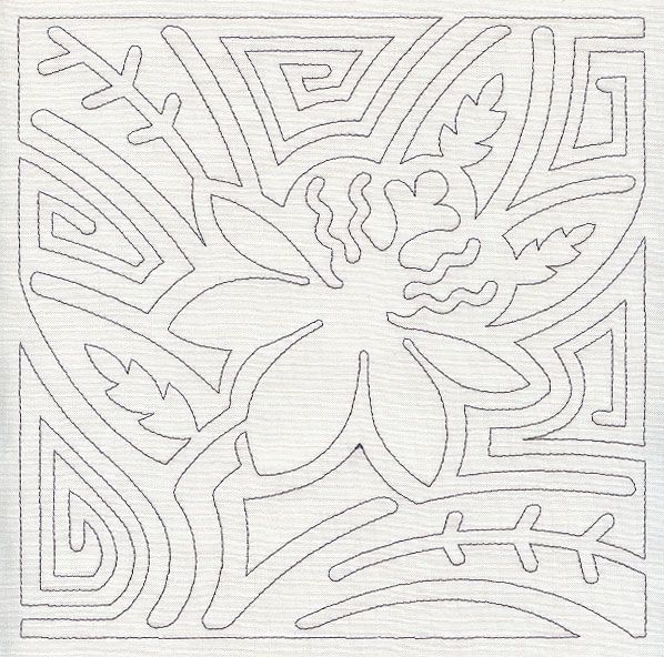 Mola Passion Flower Quilting Square (Single Run) design (E8617) from ...