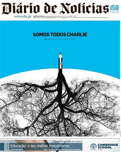 Brilhante capa do DN. // Brilliant cover of the Portuguese newspaper Diário de Notícias. @dntwit #JeSuisCharlie