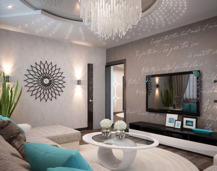 Elegantes Wohnzimmer Mit Schöner Wanduhr