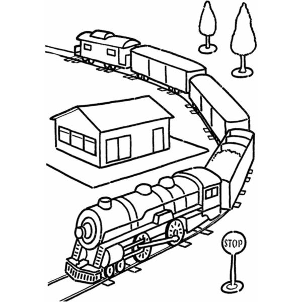 Toy Train Coloring Page Eletcric Train Set Railroad Coloring