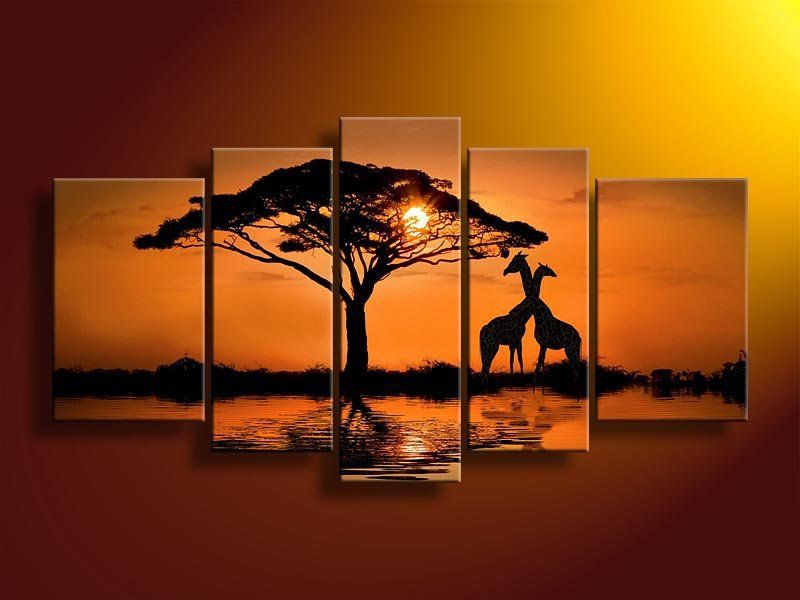 handpainted 5 piece modern landscape oil paintings on canvas wall art beautiful sunset scenery giraffe pictures for living room