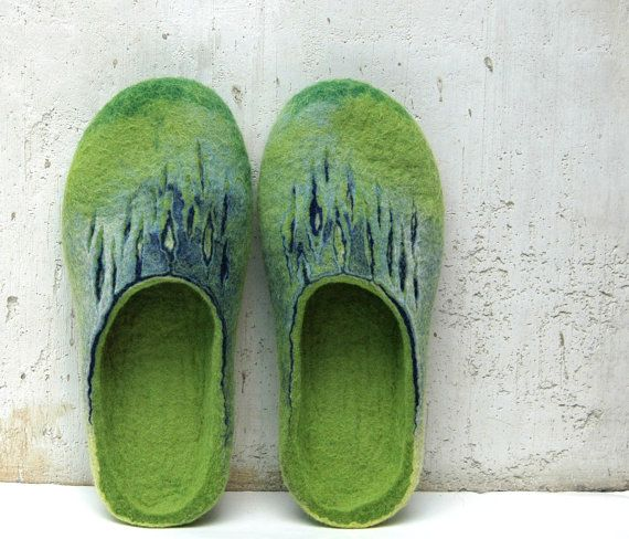 Felted slippers Green and Blue by jurgaZa on Etsy, $68.00