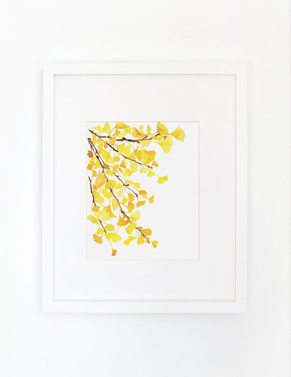 Yellow Ginkgo Watercolor Art Print by YaoChengDesign on Etsy | Wall ...