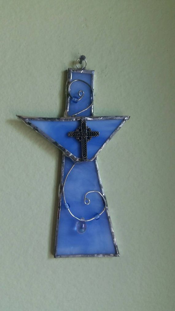 Baby Blue Stained Glass Cross Silver  and Blue by WOAbyKrista