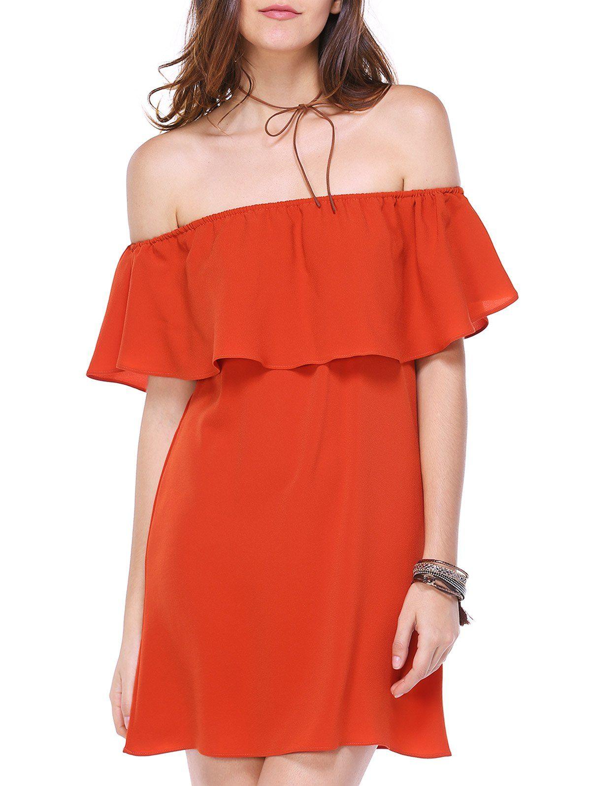 58b12753a47d Stylish Off The Shoulder Flounce Chiffon Dress For Women