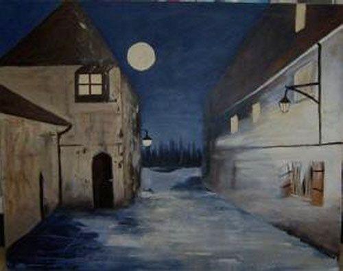 Acrylbild, Acryl, Haus, Häuser, Mond, Nacht, Vollmond, Braun,