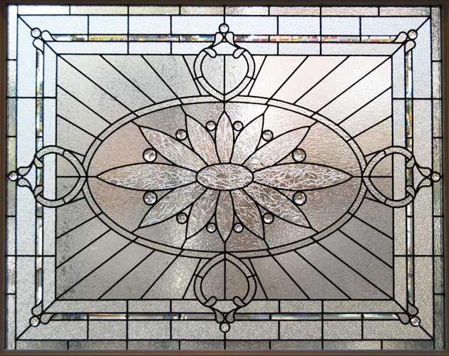 Zoom to large leaded glass privacy window stained glass for Large window designs