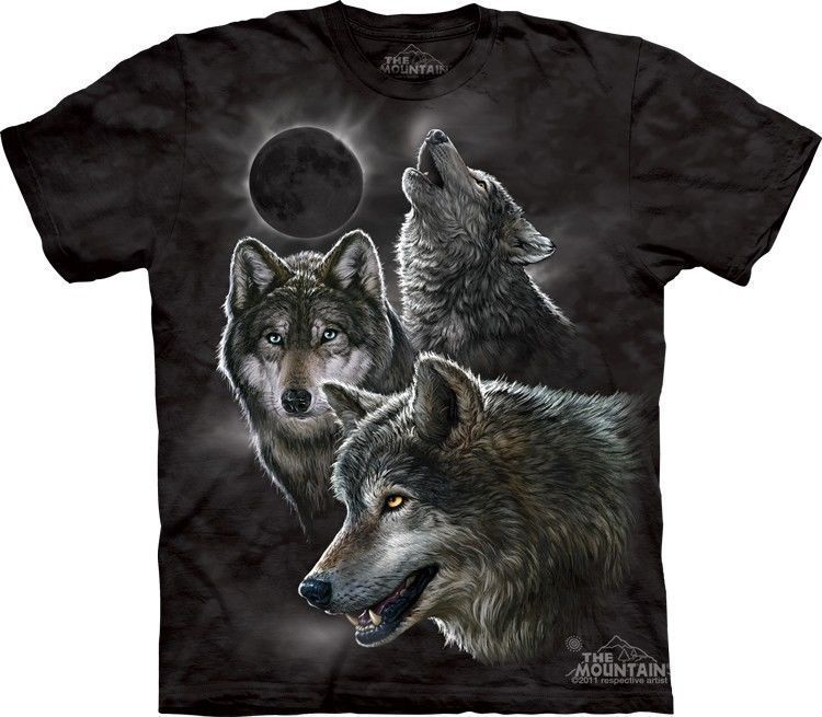 1a524bb36e Details about Wolf Wolf Pack Wolves Moon T Shirt The Mountain NIGHT ...