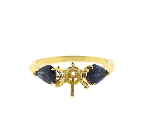 18k Gold Blue Stone Engagement Ring Setting Featured in our upcoming auction on November 3!
