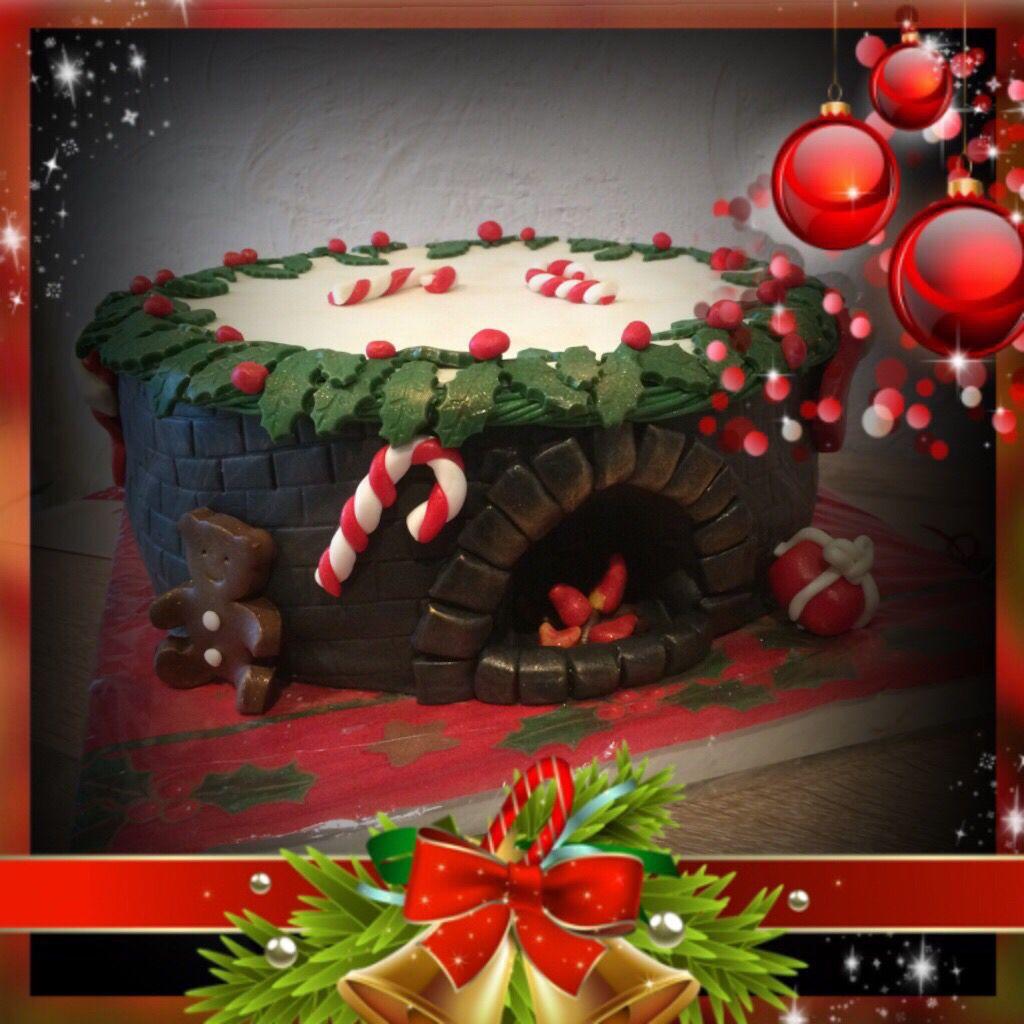motivtorte weihnachten kamin fondant s