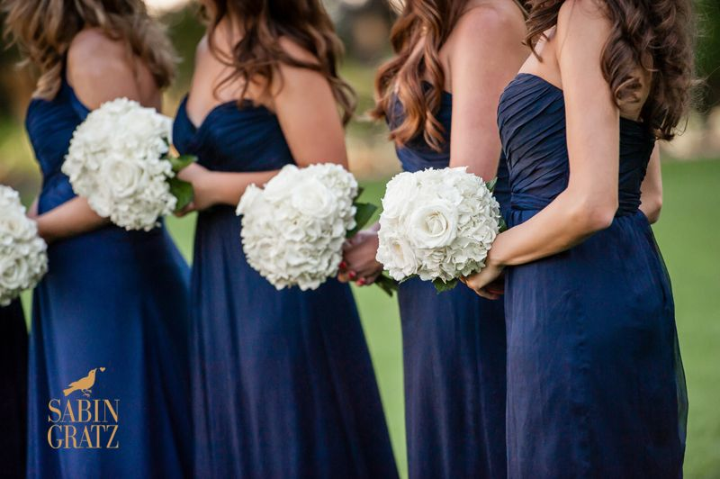 Navy Bridesmaid Dresses With White Flowers