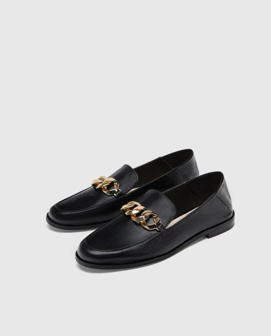 Image 1 of LEATHER LOAFERS WITH CHAIN DETAIL from Zara