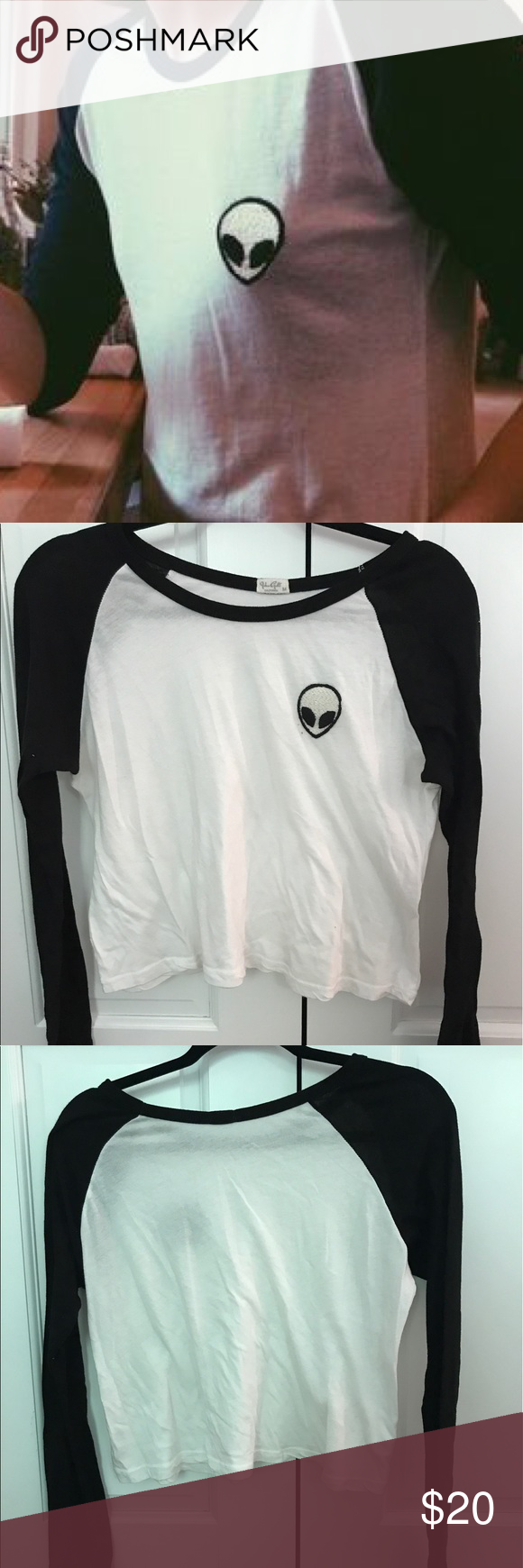Brandy Melville Alien Patch Baseball Tee Super soft John Galt long sleeved shirt. Never worn Brandy Melville Tops Tees - Long Sleeve