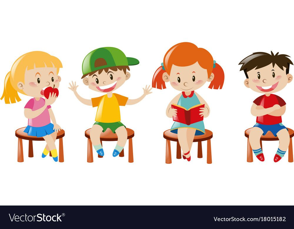 Boys And Girls Sitting On Chairs Vector Image On Vectorstock Cute Kids Kids Graphics Kids Clipart