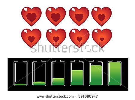 spread a red heart icon and the battery charging