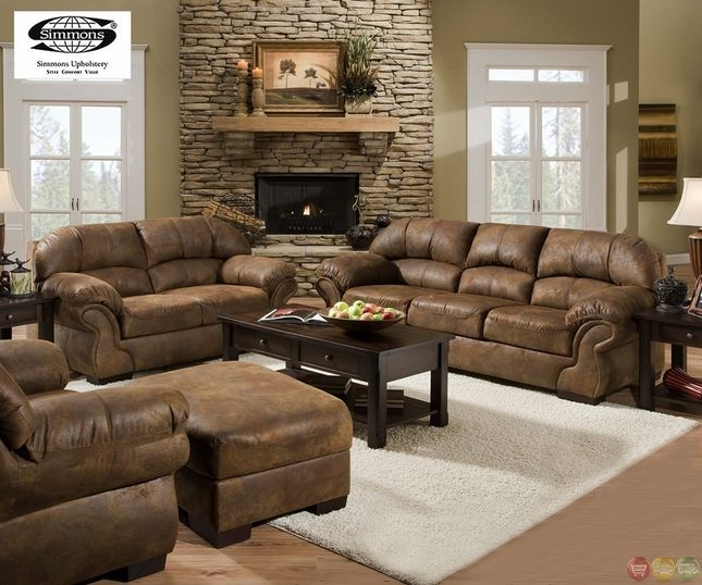 Pinto Tobacco Finish Microfiber Living Room Sofa And Loveseat Set Alluring Living Room Couches Design Inspiration