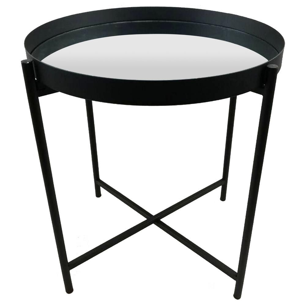 Three Hands 17 In Black Metal Mirrored Top Tray Table 14090
