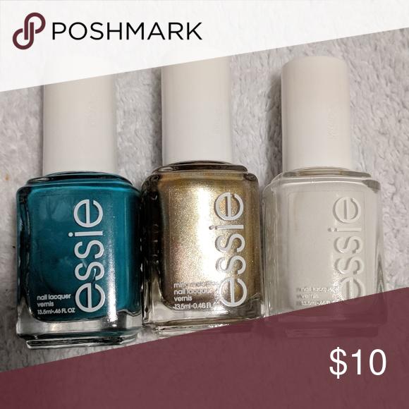 Teal, gold, white Essie nail polish | White nail polish, Essie nail ...