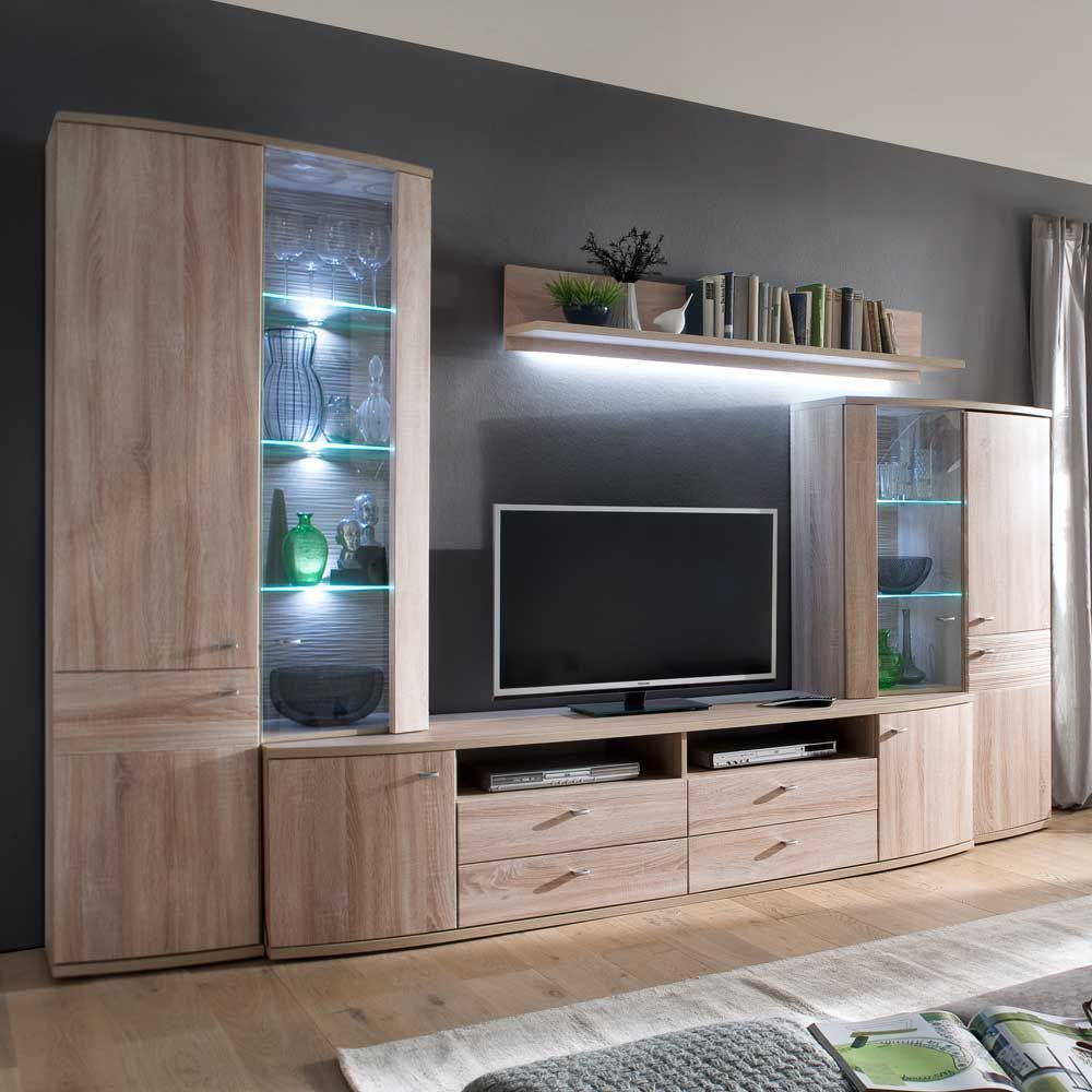Wohnkombination In Eiche Sonoma Led Beleuchtung Wohnzimmerschranke Wohnen Wohnzimmer Design