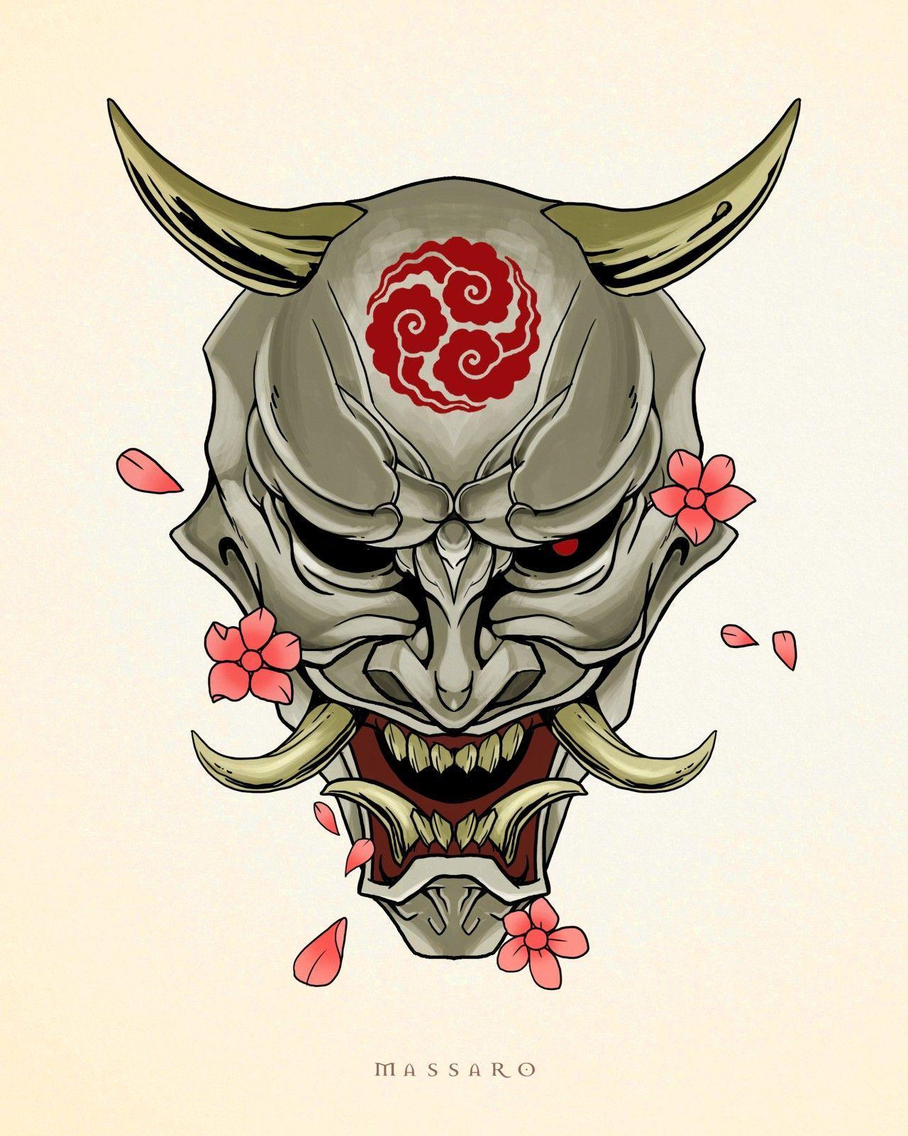 Traditional Female Japanese Demon Tattoo Design Stock ... |Demon Japanese Traditional Designs